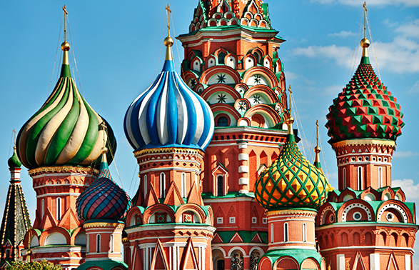 Colorful Saint Basils cathedral on Red Square in Moscow